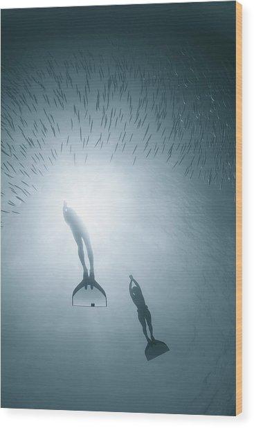 People Diving Deep In Water Wood Print