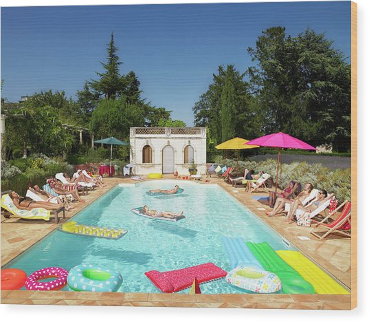 People Enjoying Summer Around The Pool Wood Print by Ghislain & Marie David De Lossy