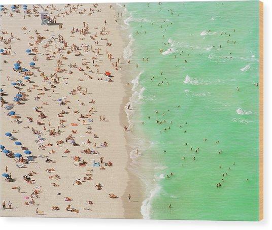 People On Beach An In Water, Aerial View Wood Print