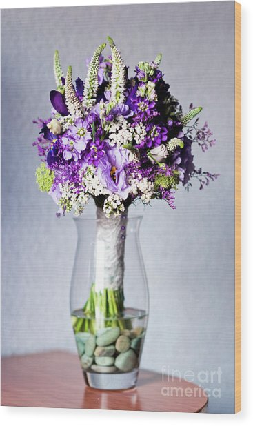 Perfect Bridal Bouquet For Colorful Wedding Day With Natural Flowers. Wood Print