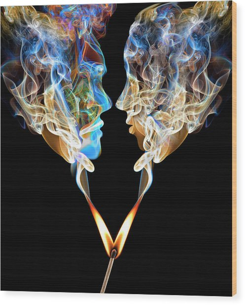 Perfect Match Up In Smoke Wood Print by Jamesbrey