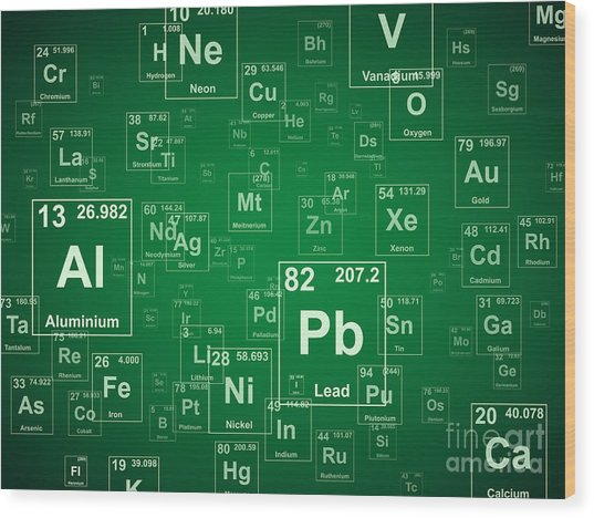 Periodic Table Of The Elements. Green Wood Print