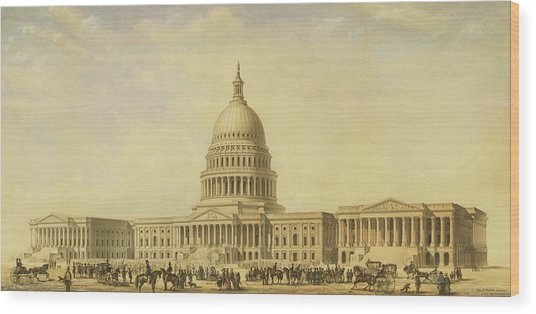 Perspective Rendering Of United States Capitol Wood Print