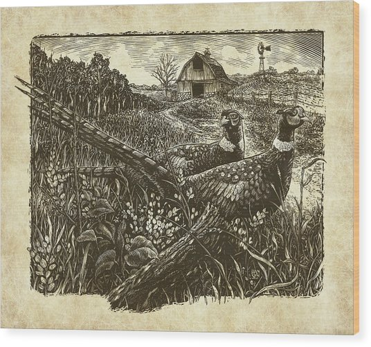 Wood Print featuring the drawing Pheasants by Clint Hansen