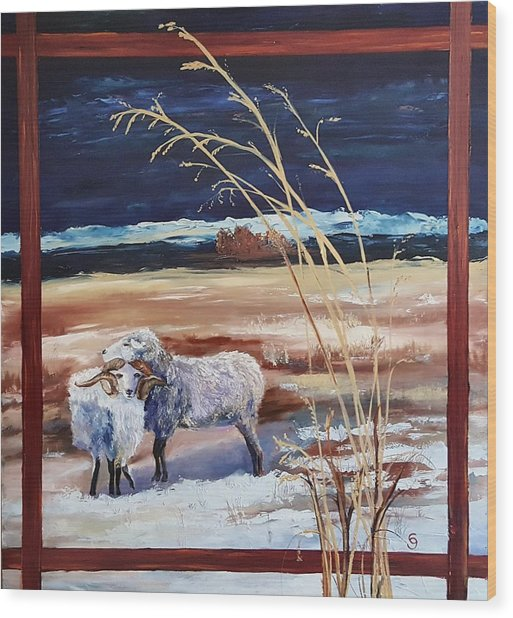 Phil And Alice Navajo Sheep    38 Wood Print