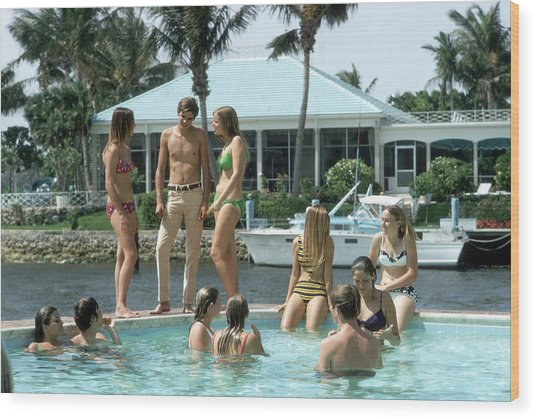 Phil Richards Pool Wood Print by Slim Aarons
