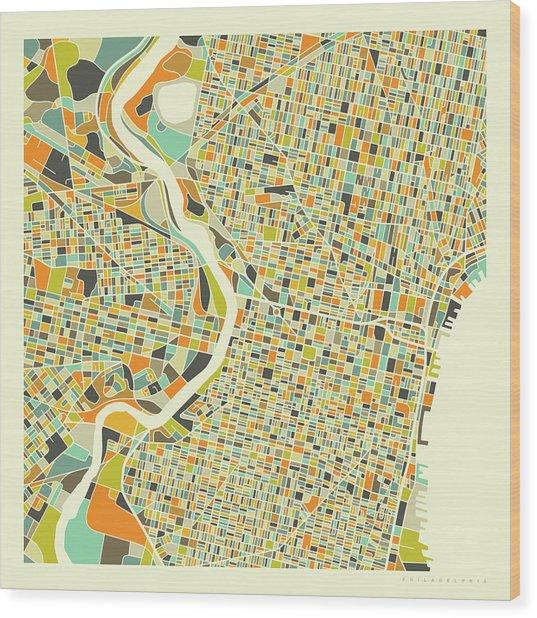 Philadelphia Map 1 Wood Print