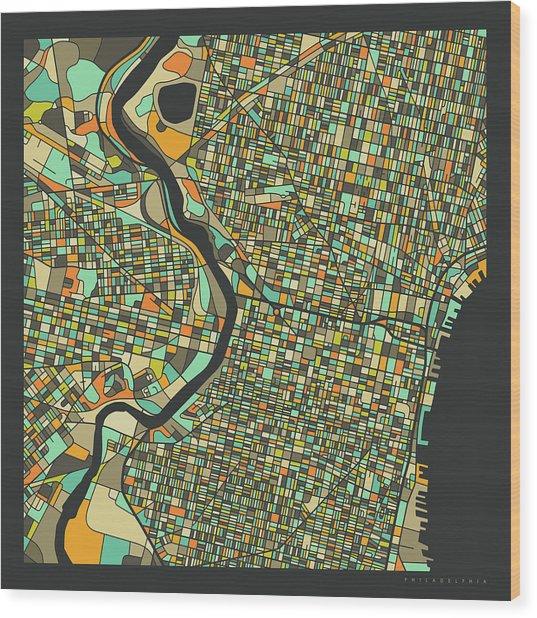Philadelphia Map 2 Wood Print