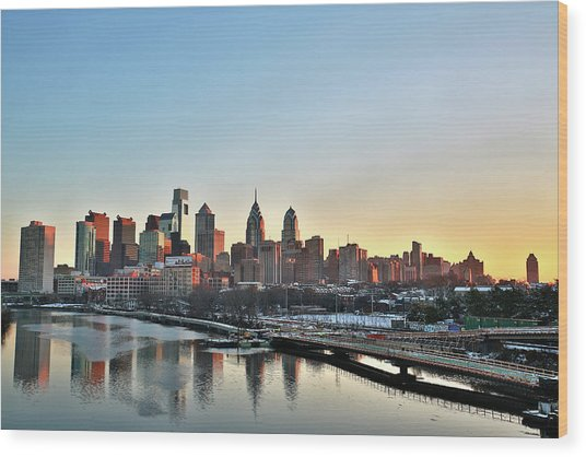 Philly Illuminated Wood Print by Valentin Prokopets