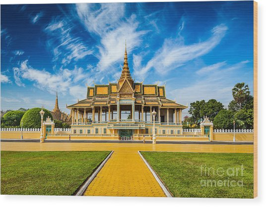Phnom Penh Tourist Attraction And Wood Print