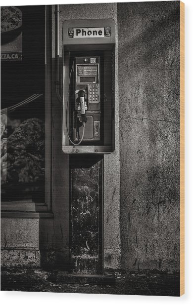 Wood Print featuring the photograph Phone Booth No 9 by Brian Carson