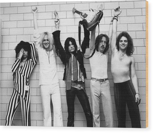 Photo Of Aerosmith And Tom Hamilton And Wood Print