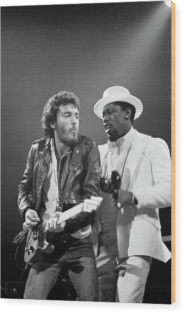 Photo Of Bruce Springsteen And Clarence Wood Print by Fin Costello