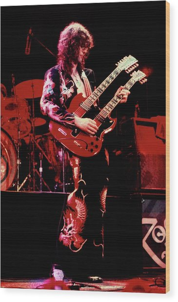 Photo Of Jimmy Page And Led Zeppelin Wood Print by Graham Wiltshire