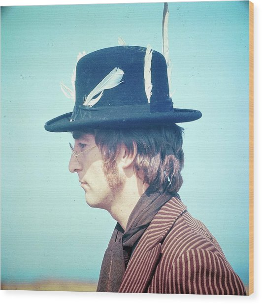 Photo Of John Lennon Wood Print