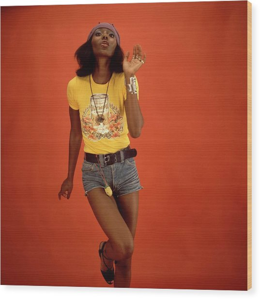 Photo Of Models And Reggae And 70s Style Wood Print