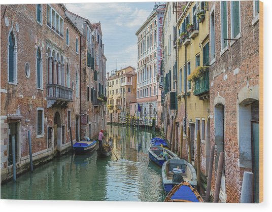 Gondolier On Canal Venice Italy Wood Print