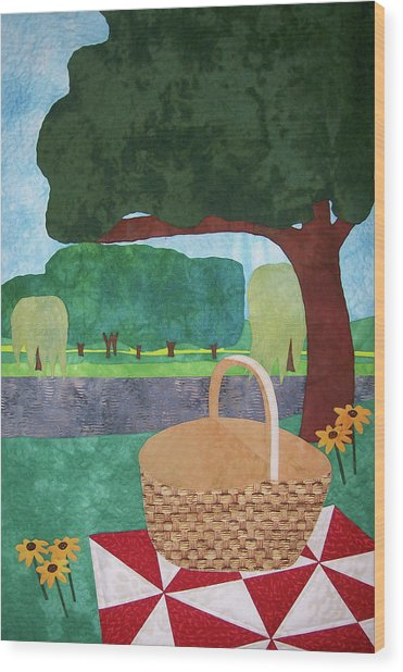 Picnic At Ellis Pond Wood Print