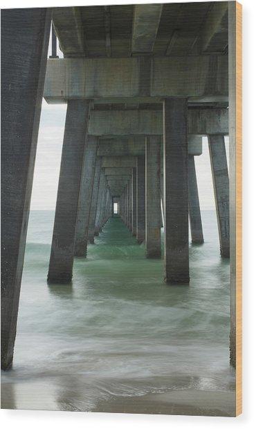 Pier Roll Tide Wood Print