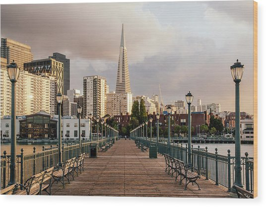 Pier Seven And Transamerica Pyramid Wood Print by Alexander Spatari
