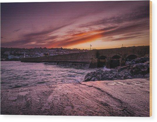 Pier To Pier Sunset Wood Print