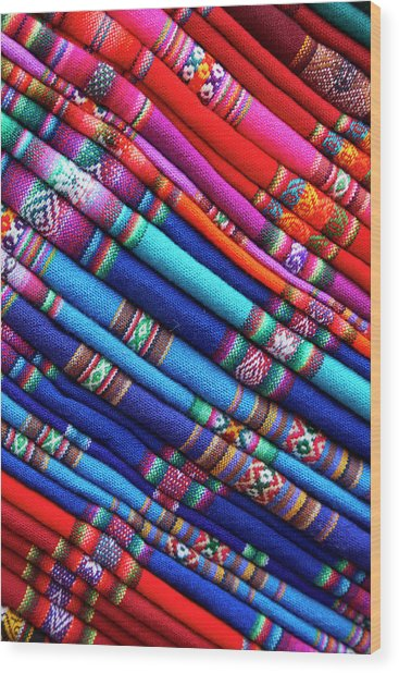 Piles Of Colorful Cloth For Sale Wood Print