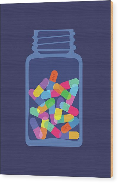 Pills And Capsules In Bottle Wood Print by Smartboy10