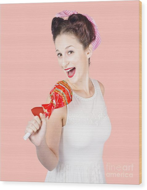 Pin-up Girl Singing Into Large Lollypop Microphone Wood Print