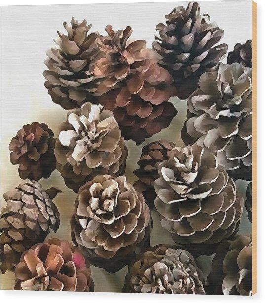 Pine Cones Organic Christmas Ornaments Wood Print