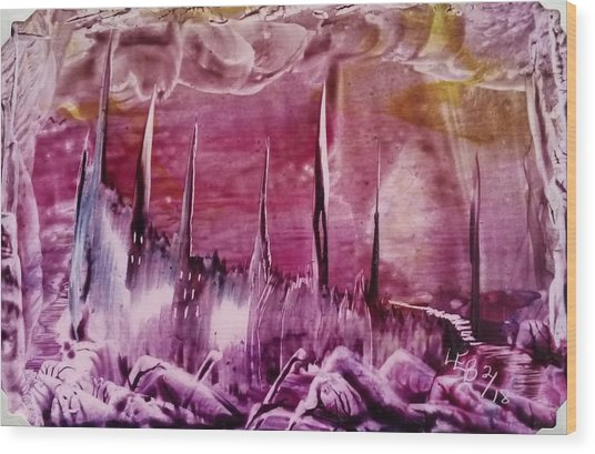 Pink Abstract Castles Wood Print
