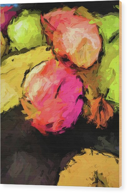 Pink And Green Apples With The Yellow Banana Wood Print