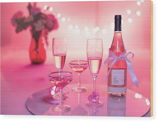 Pink Champagne Wood Print