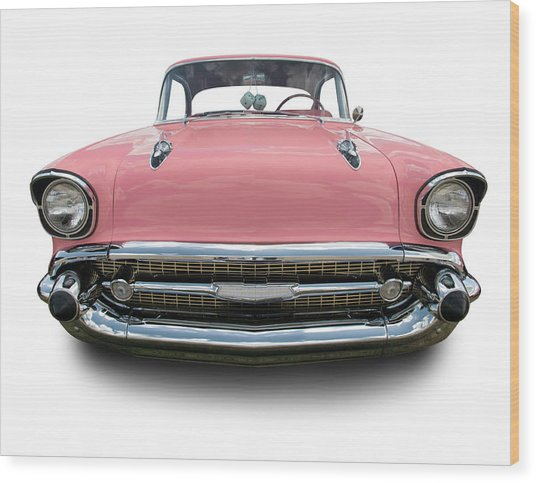 Pink Chevrolet Bel Air 1957 Wood Print by Schlol