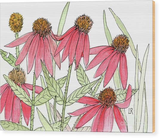 Pink Coneflowers Gather Watercolor Wood Print