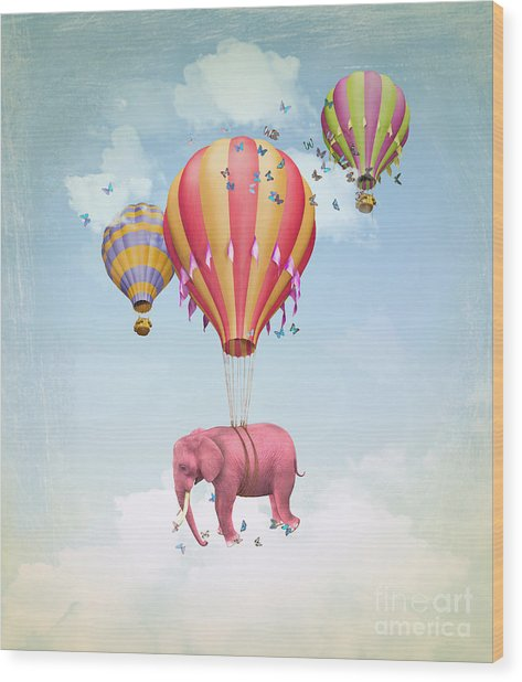 Pink Elephant In The Sky With Balloons Wood Print