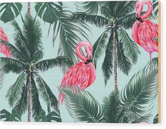 Pink Flamingos, Exotic Birds, Tropical Wood Print
