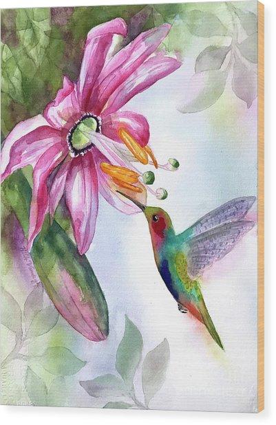 Pink Flower For Hummingbird Wood Print