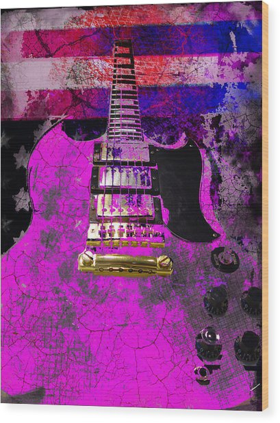 Wood Print featuring the digital art Pink Guitar Against American Flag by Guitar Wacky