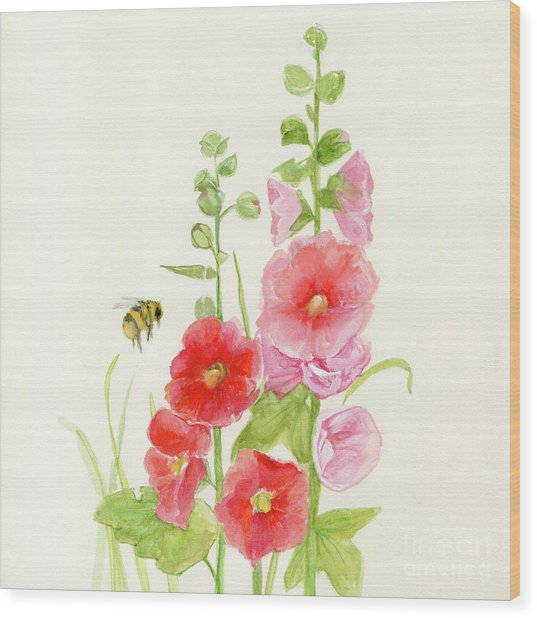 Pink Hollyhock Watercolor Wood Print