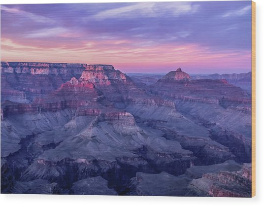 Pink Hues Over The Grand Canyon Wood Print