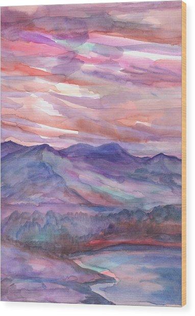 Pink Mountain Landscape Wood Print