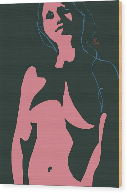Wood Print featuring the digital art Pink Nude by Attila Meszlenyi