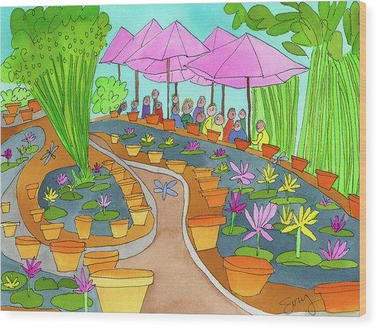 Pink Umbrella And Lilies Wood Print