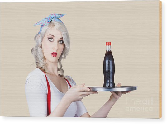 Pinup Girl Waiter Holding Silver Soda Tray Wood Print