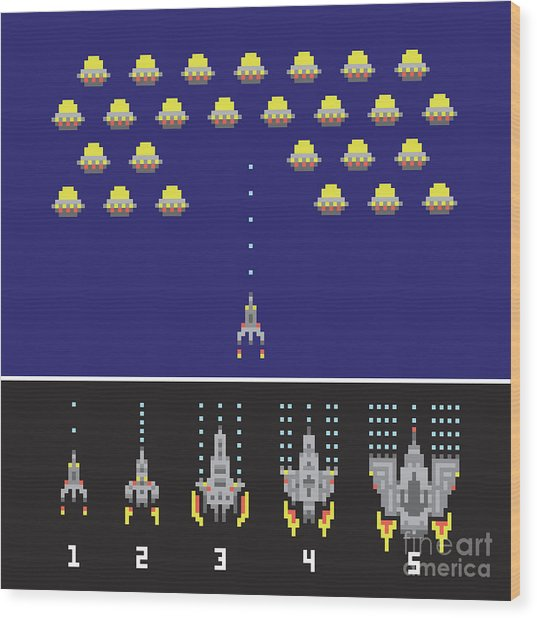 Pixel Art Style Space War And Spaceship Wood Print by Dmitriylo