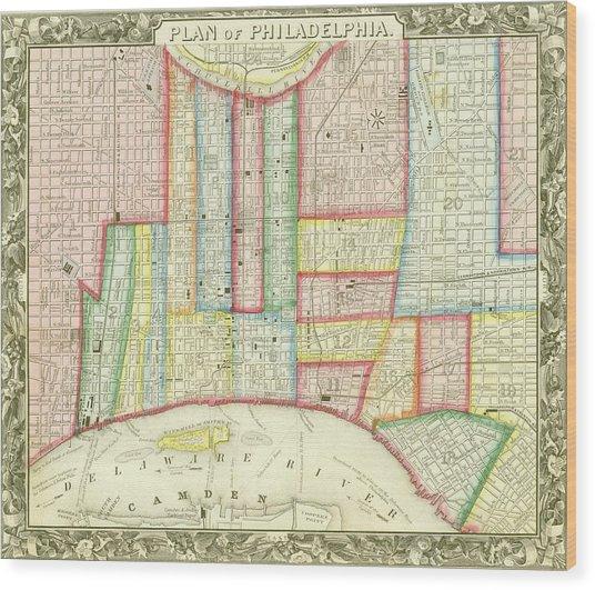Plan Of Philadelphia, 1860 Wood Print