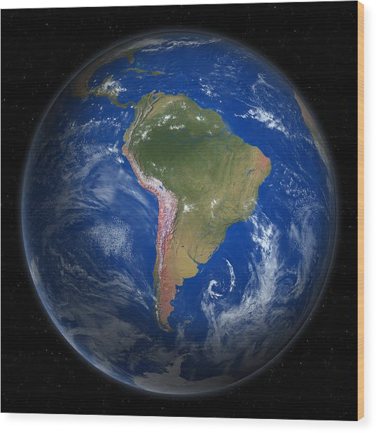 Planet Earth From Space, South America Wood Print by Saul Gravy