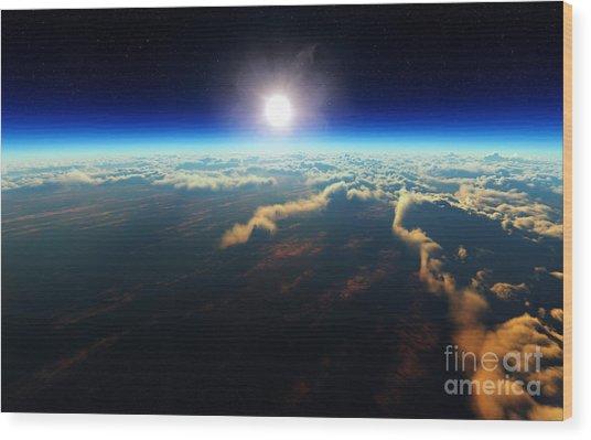 Planet Earth Sunrise Over Cloudy Ocean Wood Print
