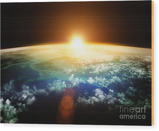 Planet Earth With A Spectacular Sunset Wood Print