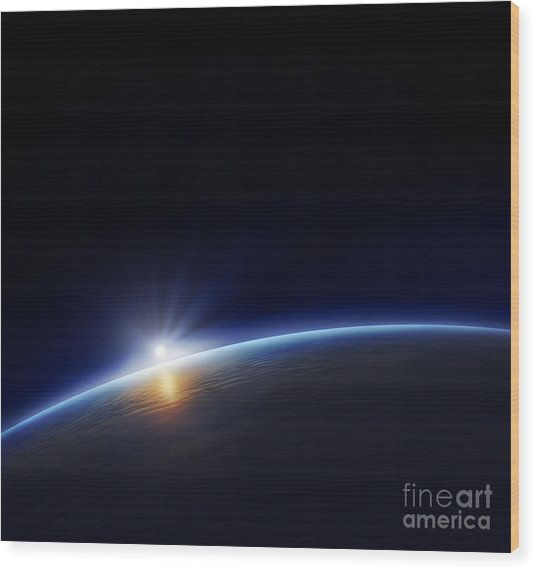 Planet Earth With Rising Sun In Space Wood Print